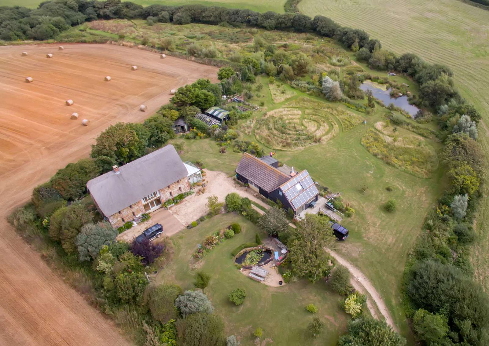 Holiday rental Cottage in Shorwell - The barns from the air in the summer.
