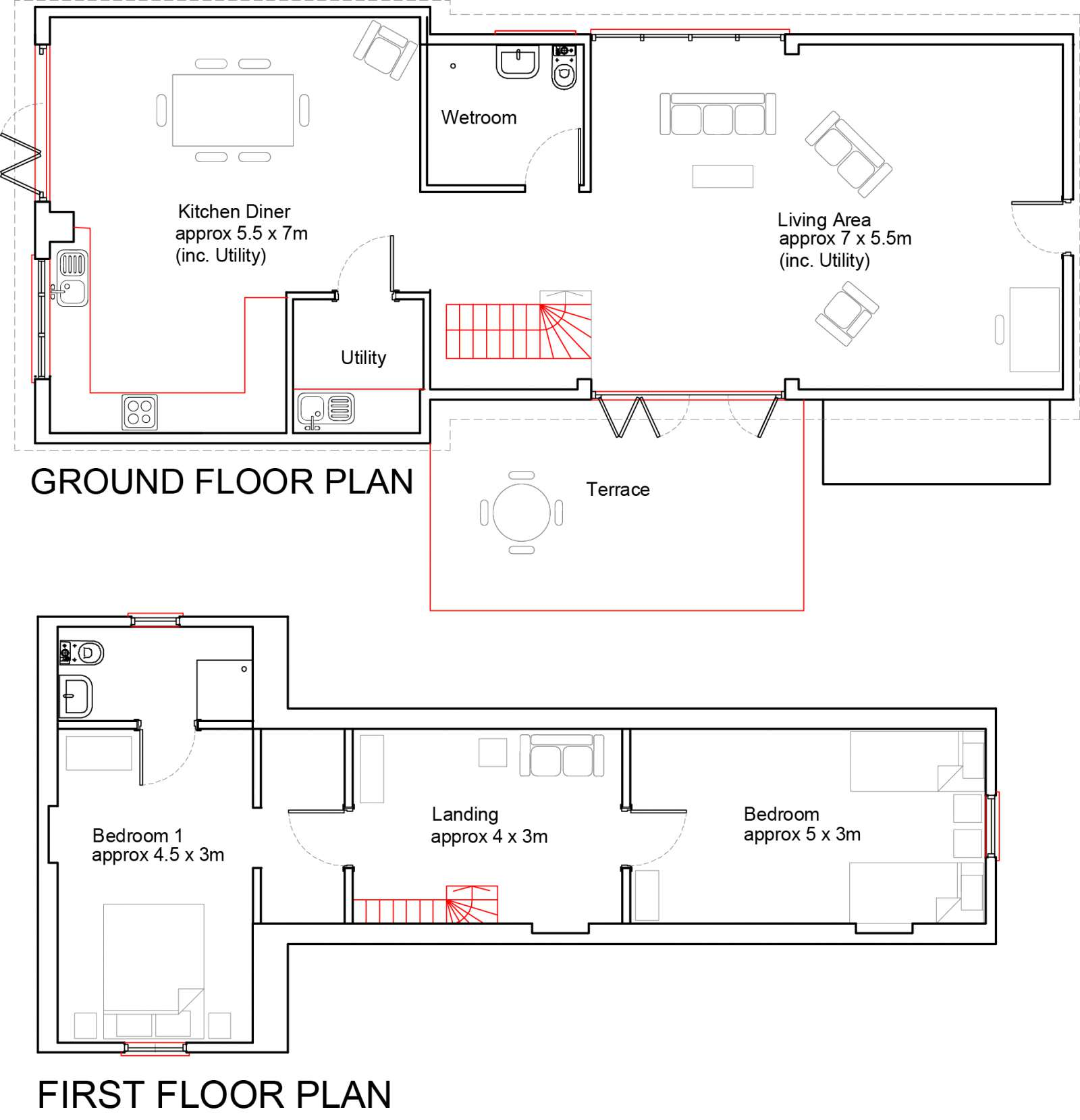 Holiday rental Cottage in Shorwell - The floor plan shows how spacious The Little Barn is.